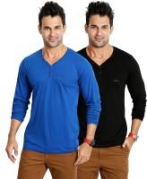 Rodid Solid Men's V-neck Blue, Black T-Shirt(Pack of 2)