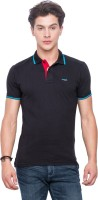 Mufti Solid Men Polo Neck Black T-Shirt
