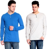 Lemon & Vodka Solid Mens Henley Blue, White T-Shirt(Pack of 2)