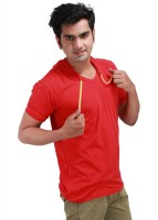Inkovy Solid Mens Hooded Red T-Shirt