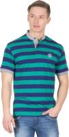 Wilkins & Tuscany Striped Men's Henley Green T-Shirt