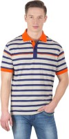 Wilkins & Tuscany Striped Men's Polo Neck Grey T-Shirt
