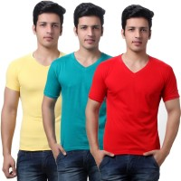 TeeMoods Solid Mens V-neck Red, Yellow, Green T-Shirt(Pack of 3)