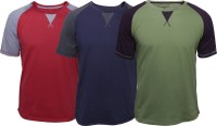 Poshuis Solid Men's Round Neck Red, Green, Blue T-Shirt(Pack of 3)