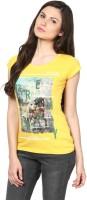 Fritzberg Printed Womens Round Neck Gold T-Shirt
