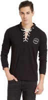 Elaborado Solid Mens Henley Black T-Shirt