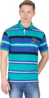 Wilkins & Tuscany Striped Men's Polo Neck Green T-Shirt