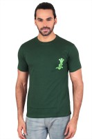 Anger Beast Printed Mens Round Neck Green T-Shirt