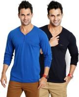 Rodid Solid Men V-neck Blue T-Shirt(Pack of 2)