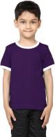 99Tshirts Boys Solid Cotton T Shirt(Purple, Pack of 1)