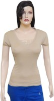 Ultra Fit Printed Women's Round Neck Beige T-Shirt