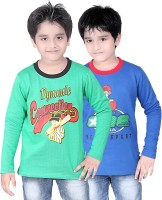Dongli Boys Printed T Shirt(Multicolor, Pack of 2)