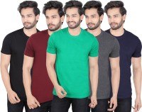 LUCfashion Solid Mens Round Neck Black, Maroon, Green, Black, Blue T-Shirt(Pack of 5)