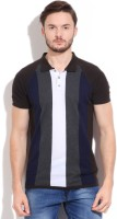 Peter England Striped Mens Polo Neck Grey, White, Brown T-Shirt