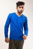 Unisopent Designs Solid Mens V-neck Blue T-Shirt