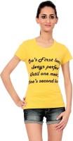 Texco Printed Womens Round Neck Yellow T-Shirt