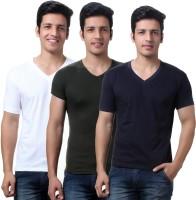 TeeMoods Solid Mens V-neck Dark Green, Dark Blue, Yellow T-Shirt(Pack of 3)