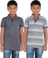 KNIT ABC Garments Boys Printed Cotton T Shirt(Blue, Pack of 2)
