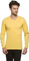 Alan Jones Solid Men V-neck Yellow T-Shirt