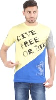 Al-Harsha Trend Printed Men's Round Neck Yellow, Blue T-Shirt