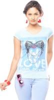 Trendy Girlz Graphic Print Women's Round Neck Light Blue T-Shirt