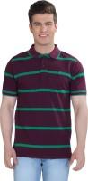 The Cotton Company Striped Mens Polo Neck Purple, Green T-Shirt