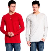 Lemon & Vodka Solid Mens Henley Red, White T-Shirt(Pack of 2)