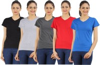 Appulse Solid Womens V-neck Black, Blue, Grey, Red, Grey T-Shirt(Pack of 5)