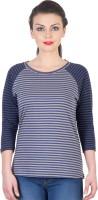 Hypernation Striped Women's Round Neck Dark Blue, Grey T-Shirt