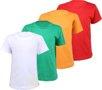 Wee Care Boys Solid Cotton T Shirt(Multicolor, Pack of 4)