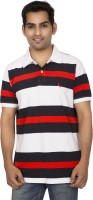Red Line Striped Men's Polo Neck Multicolor T-Shirt