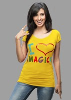 Imagica Printed Women's Round Neck Yellow T-Shirt