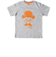 SuperYoung Printed Boys Round Neck Grey T-Shirt