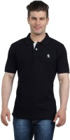 The Cotton Company Solid Men's Polo Neck Black T-Shirt