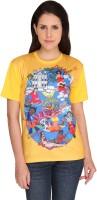Idiot Theory Graphic Print Women's Round Neck Yellow T-Shirt