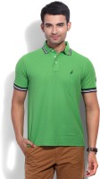 Nautica Solid Men's Polo Neck Green T-Shirt