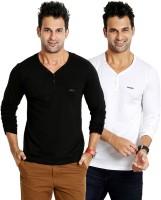 Rodid Solid Mens V-neck White, Black T-Shirt(Pack of 2)