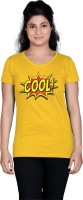 Tantra Graphic Print Women's Round Neck Yellow T-Shirt
