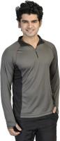 T10 Sports Solid Mens Fashion Neck Grey T-Shirt