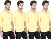 LUCfashion Solid Mens Henley Yellow T-Shirt(Pack of 4)