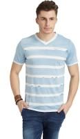 Breakbounce Striped Men's V-neck Blue T-Shirt