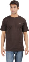 Crystal Solid Men's Round Neck Brown T-Shirt