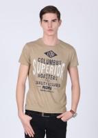 People Printed Men's Round Neck Beige T-Shirt