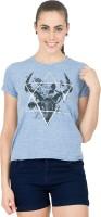 Alibi Printed Womens Round Neck Blue T-Shirt