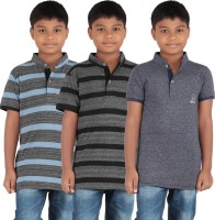 KNIT ABC Garments Boys Embroidered, Striped Cotton T Shirt(Grey, Pack of 3)