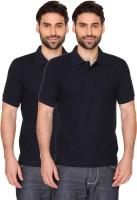 Blacksmith Solid Men's Polo Neck Dark Blue T-Shirt(Pack of 2)