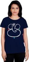 Tantra Graphic Print Women's Round Neck Dark Blue T-Shirt