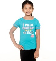 Menthol Girls Printed T Shirt(Blue)
