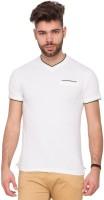 Mufti Solid Men V-neck White T-Shirt