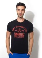 Smugglerz Inc. Graphic Print Men's Round Neck Black T-Shirt